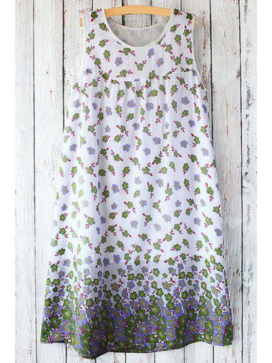 fashion Jewel Neck Tiny Floral Print Sleeveless Dress - WHITE ONE SIZE(FIT SIZE XS TO M)