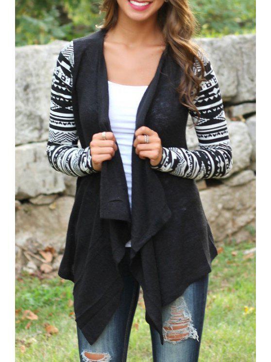 النمط القبلي معطف طويل الأكمام - أسود S