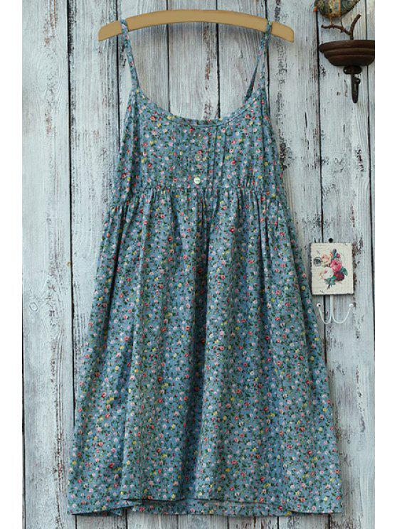 chic Spaghetti Strap Tiny Floral Print Sleeveless Dress - LIGHT BLUE ONE SIZE(FIT SIZE XS TO M)