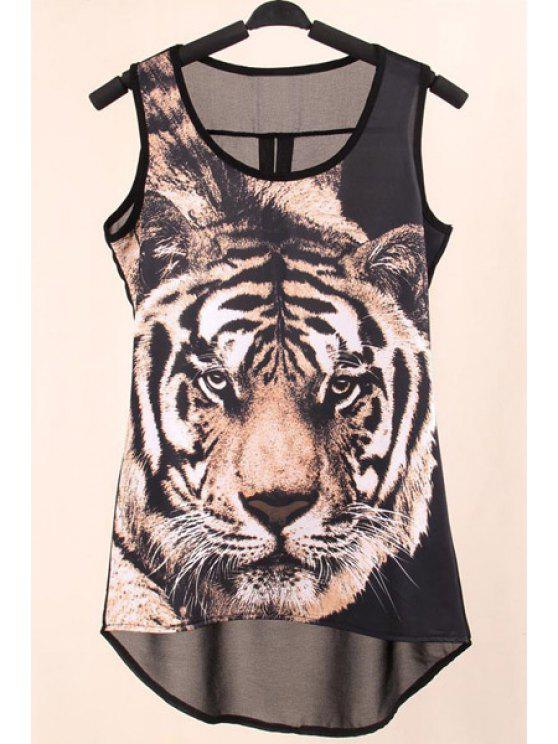 best Print See-Through Scoop Neck Tank Top - AS THE PICTURE S
