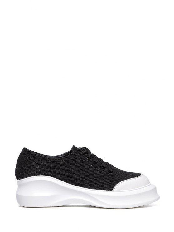 women's Round Toe Lace-Up Platform Shoes - BLACK 36
