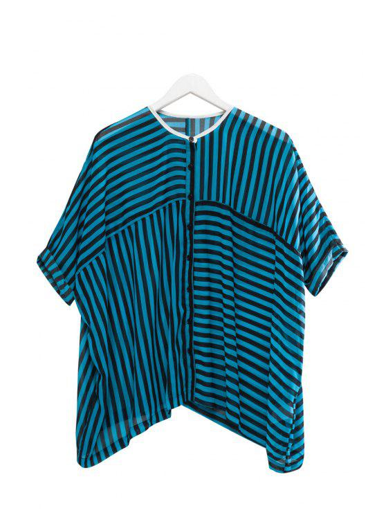 sale Stripe See-Through Half Sleeve Shirt - BLUE AND BLACK XS