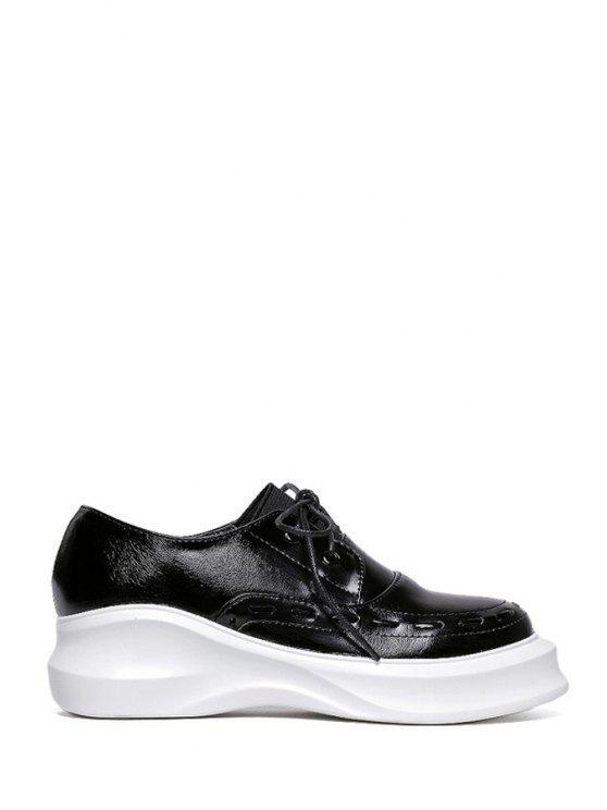 women's Lace-Up Round Toe Platform Shoes - BLACK 34