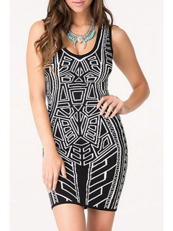 fancy Sleeveless Geometric Print Packet Buttocks Dress - WHITE AND BLACK ONE SIZE(FIT SIZE XS TO M)
