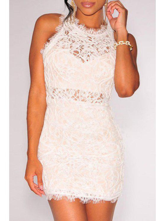 latest Sleeveless Openwork Lace Hook Dress - WHITE ONE SIZE(FIT SIZE XS TO M)