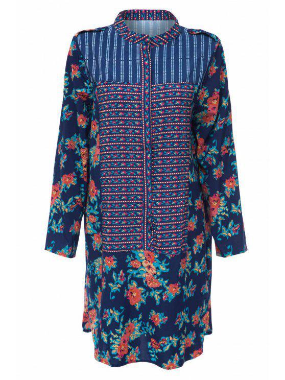 Print Spliced Stand Neck Long Sleeve Dress - PURPLISH BLUE L