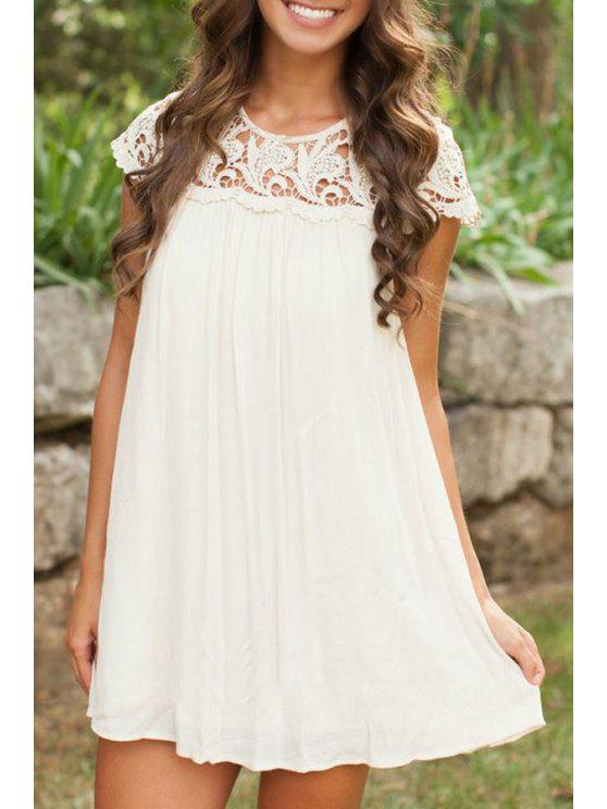 women's White Pleated Short Sleeve Dress - WHITE S