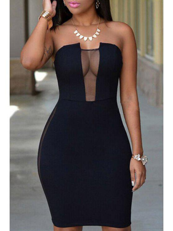 outfits Strapless Voile Spliced Bodycon Club Dress - BLACK ONE SIZE(FIT SIZE XS TO M)