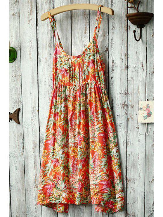 women Spaghetti Strap Floral Printed Dress - ORANGE ONE SIZE(FIT SIZE XS TO M)