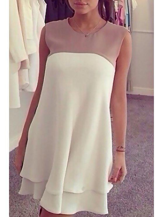 chic Color Block Jewel Collar Sleeveless Dress - WHITE S