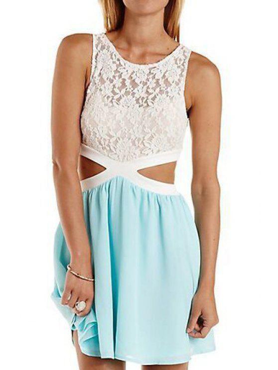 womens Lace Spliced Jewel Collar Sleeveless Dress - AZURE S
