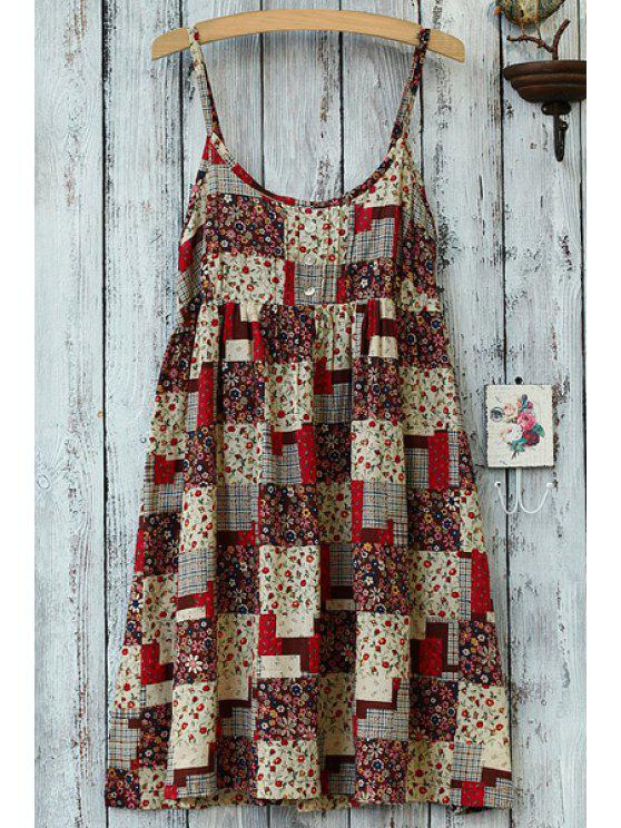sale Spaghetti Strap Tiny Floral Plaid Pattern Dress - RED ONE SIZE(FIT SIZE XS TO M)