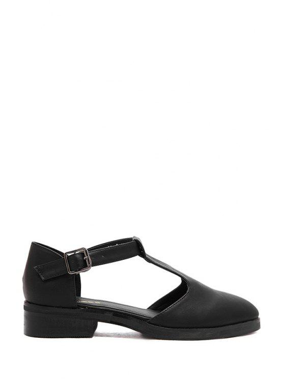 affordable T-Strap Buckle Solid Color Flat Shoes - BLACK 38