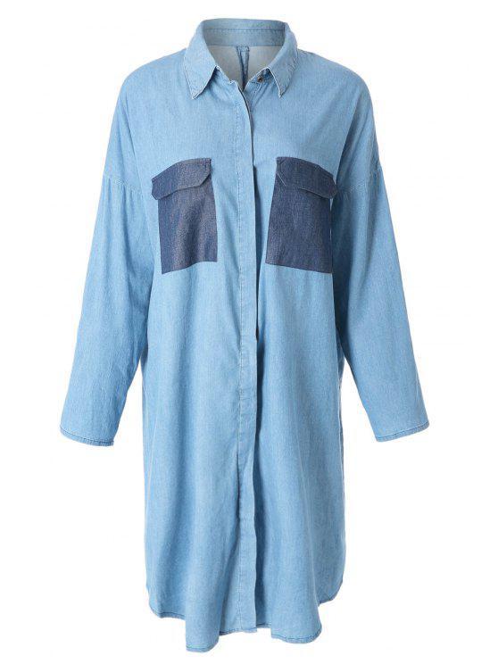 lady Blue Denim Turn-Down Collar Long Sleeve Dress - BLUE S