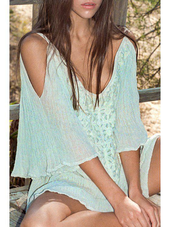 ladies Off-The-Shoulder Flare Sleeve Crochet Dress - LIGHT GREEN S