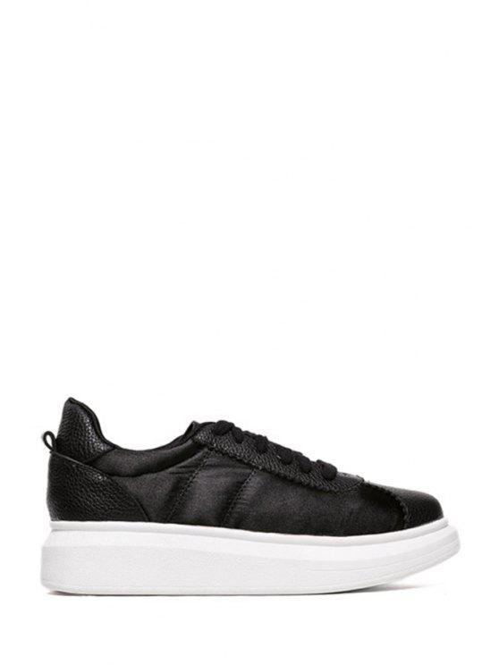 women Lace-Up Splicing Solid Color Platform Shoes - BLACK 35