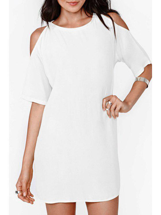 fashion Solid Color Cut Out Chiffon Dress - WHITE 2XL