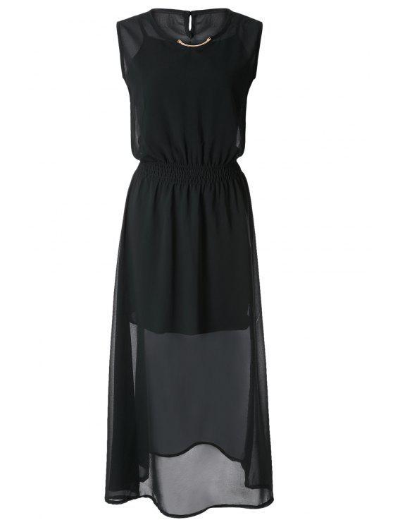 outfits V-Neck Solid Color Maxi Dress - BLACK S