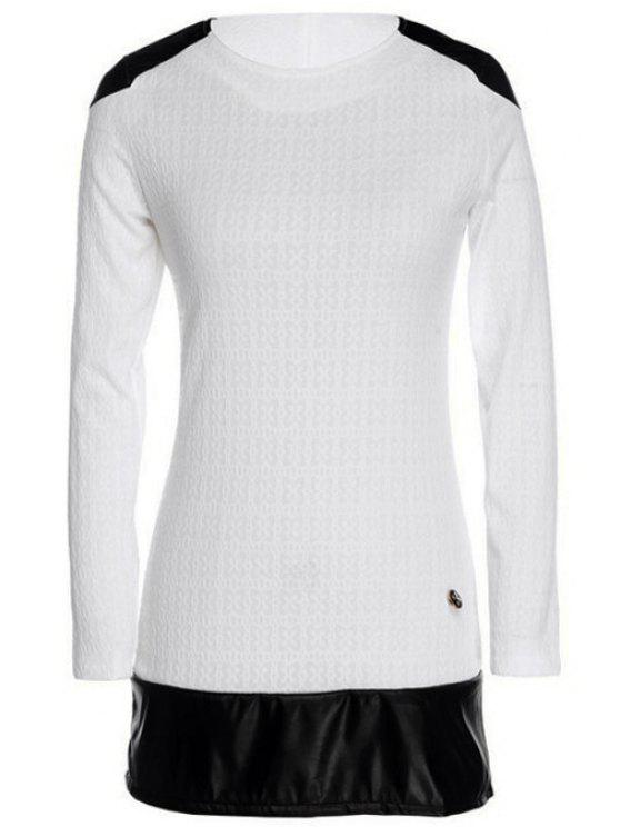 affordable Long Sleeve Color Block Spliced Dress - WHITE M