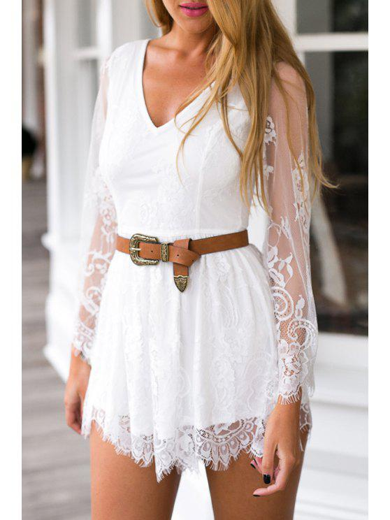 new See-Through Lace Splicing Long Sleeve Playsuit - WHITE M