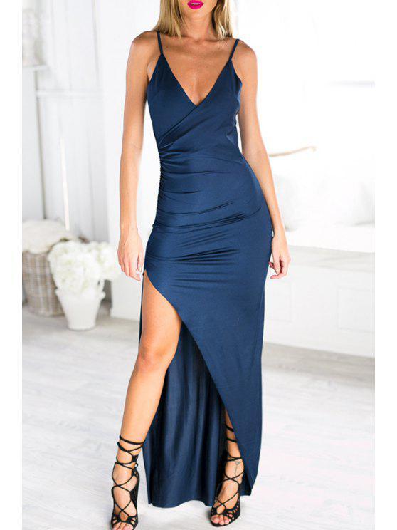 unique Spaghetti Strap High Split Backless Dress - BLUE S