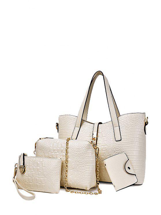 lady Crocodile Print Metal Zipper Tote Bag - OFF-WHITE