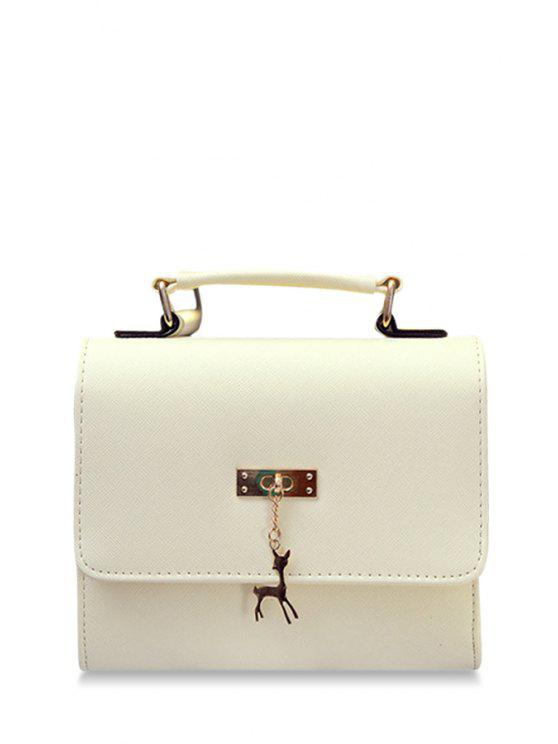 unique Metal Chains Solid Color Crossbody Bag - OFF-WHITE