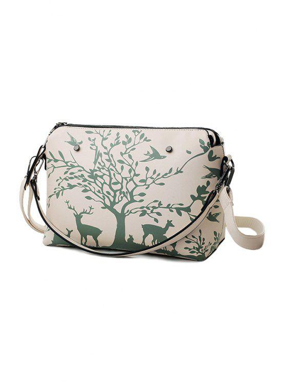 womens Print Zipper Metal Crossbody Bag - WHITE