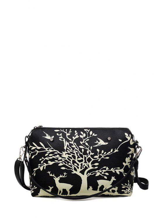 lady Print Zipper Metal Crossbody Bag - BLACK