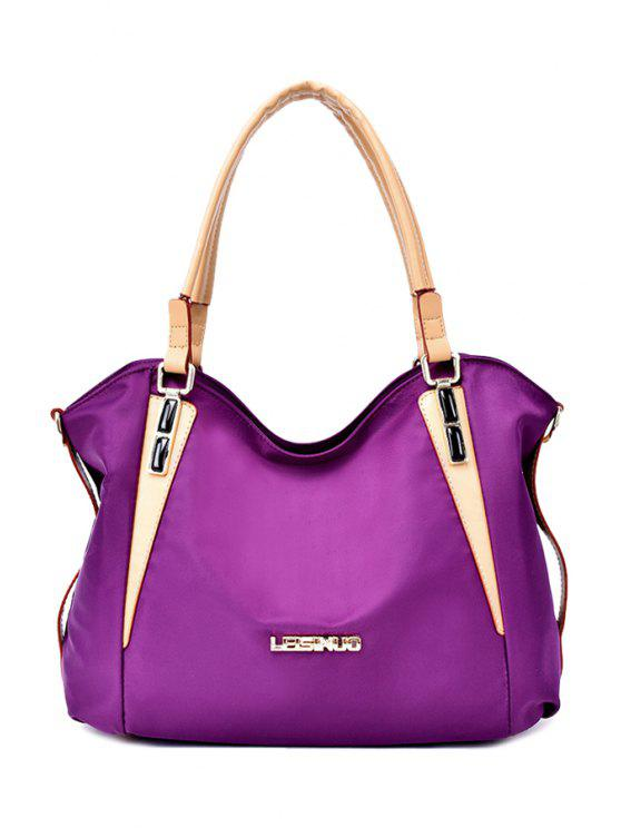 unique Rivets Zipper Metal Tote Bag - PURPLE