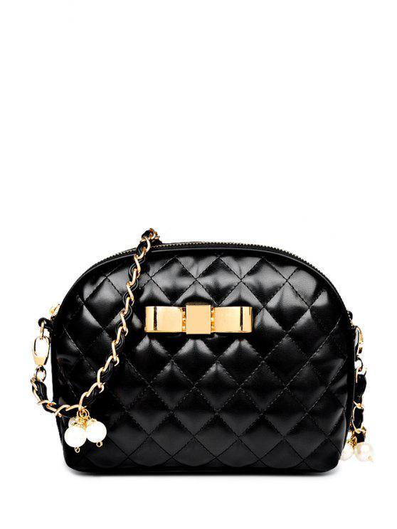 fancy Faux Pearl Argyle Chains Crossbody Bag - BLACK
