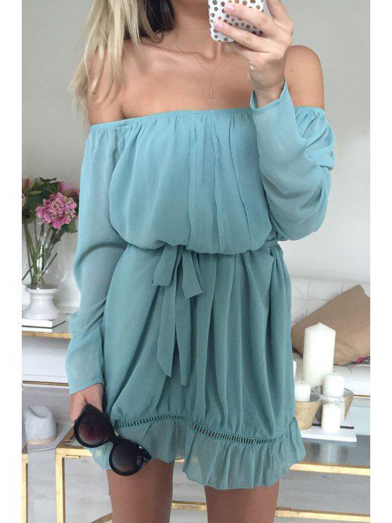 sale Off-The-Shoulder Long Sleeve Azure Dress - LIGHT BLUE M