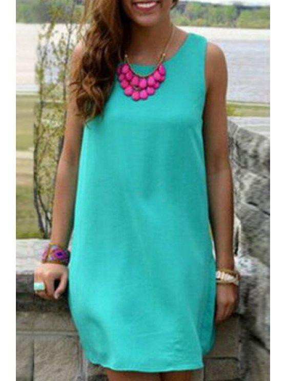 shop Backless Floral Splicing Sleeveless Dress - LAKE BLUE M