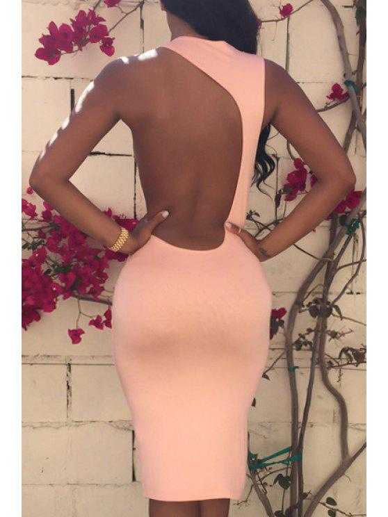 womens Scoop Neck Backless Asymmetrical Sleeveless Dress - PINK S