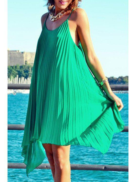 lady Spaghetti Strap Solid Color Sleeveless Pleated Dress - GREEN M