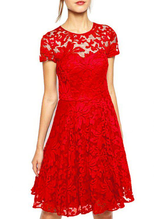 women's See-Through Lace Floral Short Sleeve Dress - RED S