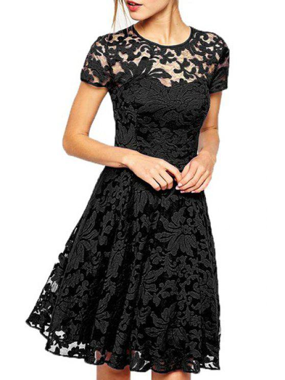 new See-Through Lace Floral Short Sleeve Dress - BLACK S