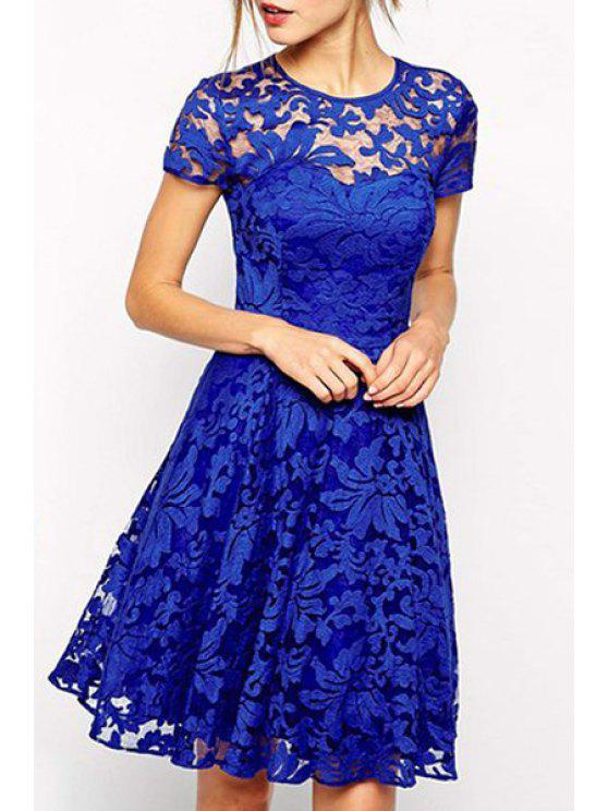 trendy See-Through Lace Floral Short Sleeve Dress - BLUE S