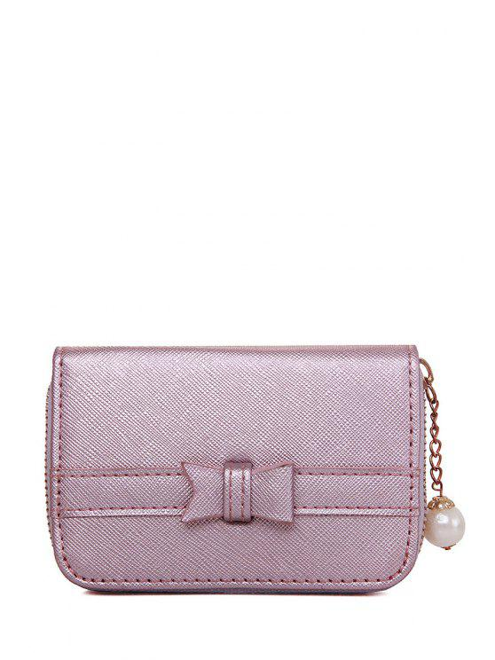 ladies Faux Pearl Zipper Chains Wallet - DEEP PINK