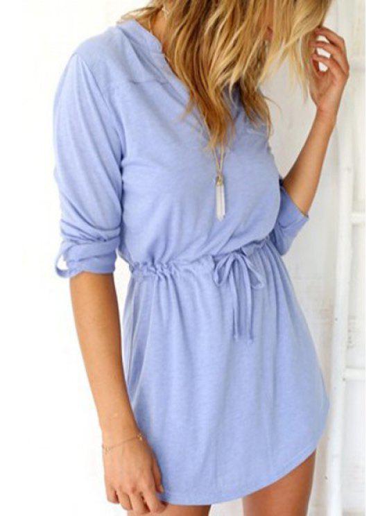 outfit Light Blue V Neck Long Sleeve Dress - LIGHT BLUE S