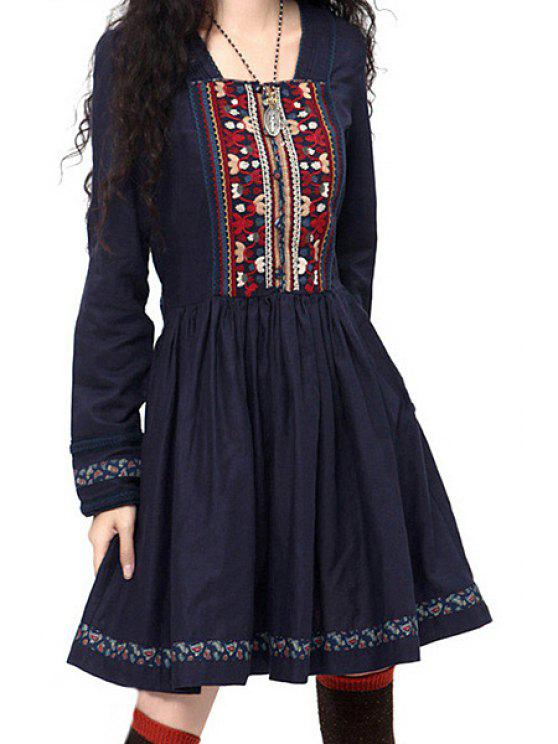 affordable Long Sleeve Embroidered Pleated Dress - SAPPHIRE BLUE S