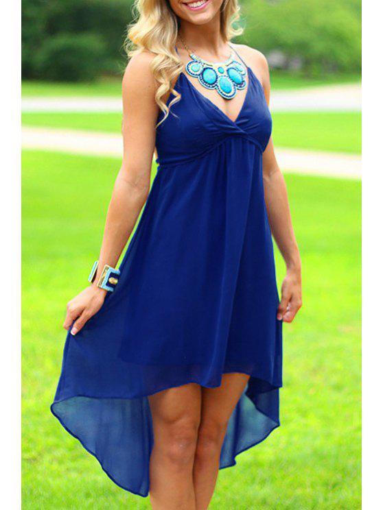 womens Spaghetti Strap Asymmetrical Backless Sleeveless Dress - BLUE S