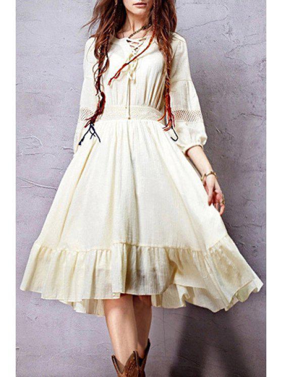 online 3/4 Sleeve Crochet Spliced Flare Dress - BEIGE S