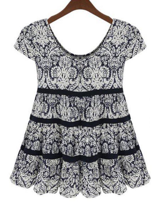 shops Scoop Neck Black Printed Short Sleeve Blouse - BLACK 3XL