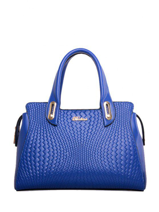 women's Weaving Pattern Rivets Metal Tote Bag - BLUE