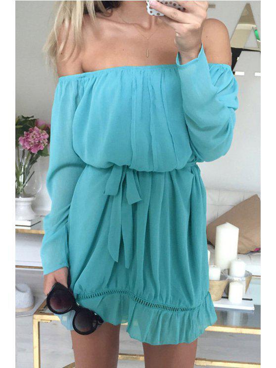 online Ruffled Slash Neck Long Sleeve Dress - LAKE BLUE S
