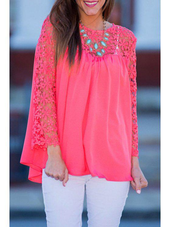 outfit Crochet Flowers Spliced Long Sleeve Blouse - ROSE S