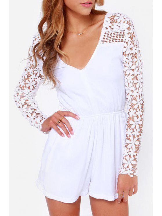 trendy Crochet Flower Spliced Long Sleeve Playsuit - WHITE S