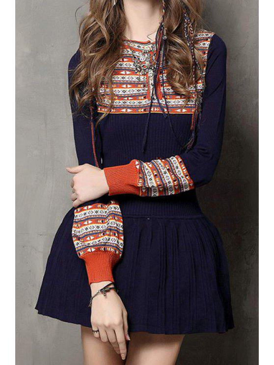 womens Long Sleeve Jacquard Ruffled Sweater Dress - BLUE ONE SIZE(FIT SIZE XS TO M)