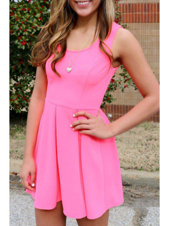 women's Pink Scoop Neck A Line Sundress - PINK S